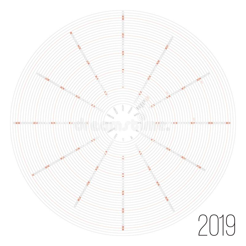 Circular Calendar 2019 Year Minimal Date Poster Stock Vector - circular calendar