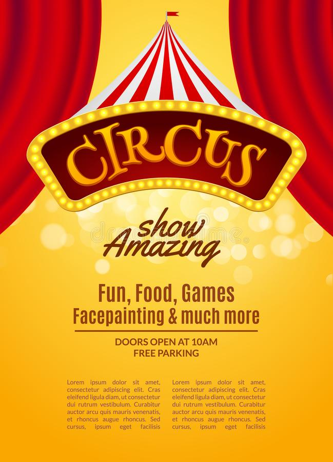 Circus Show Poster Template With Sign And Light Frame Festive - free carnival sign template
