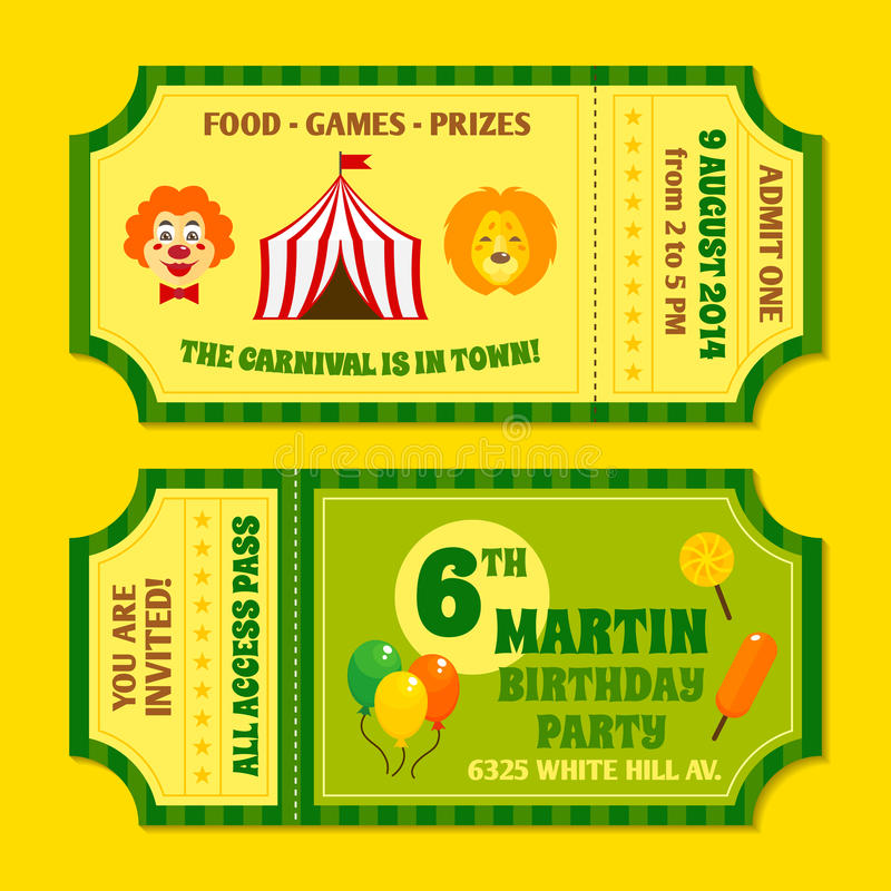 Circus tickets template stock vector Illustration of payment - 41976814 - food tickets template