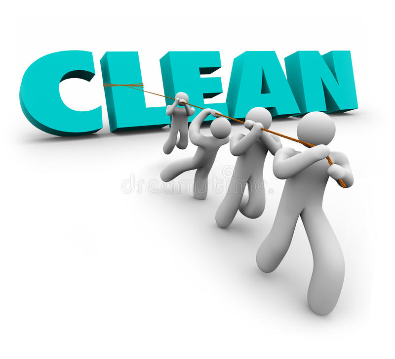 Clean 3d Word Pulled Up Team People Working Together Cleaners Stock