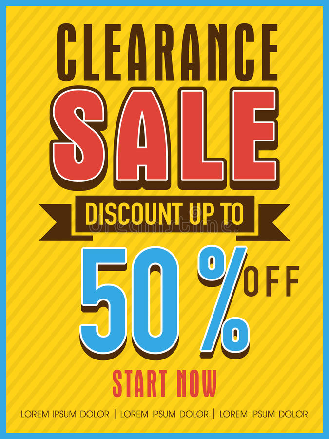Clearance Sale Flyer, Banner Or Template Stock Illustration - discount flyer template