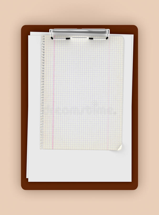 Clipboard With Empty Paper Sheets And Graph Paper Stock Illustration