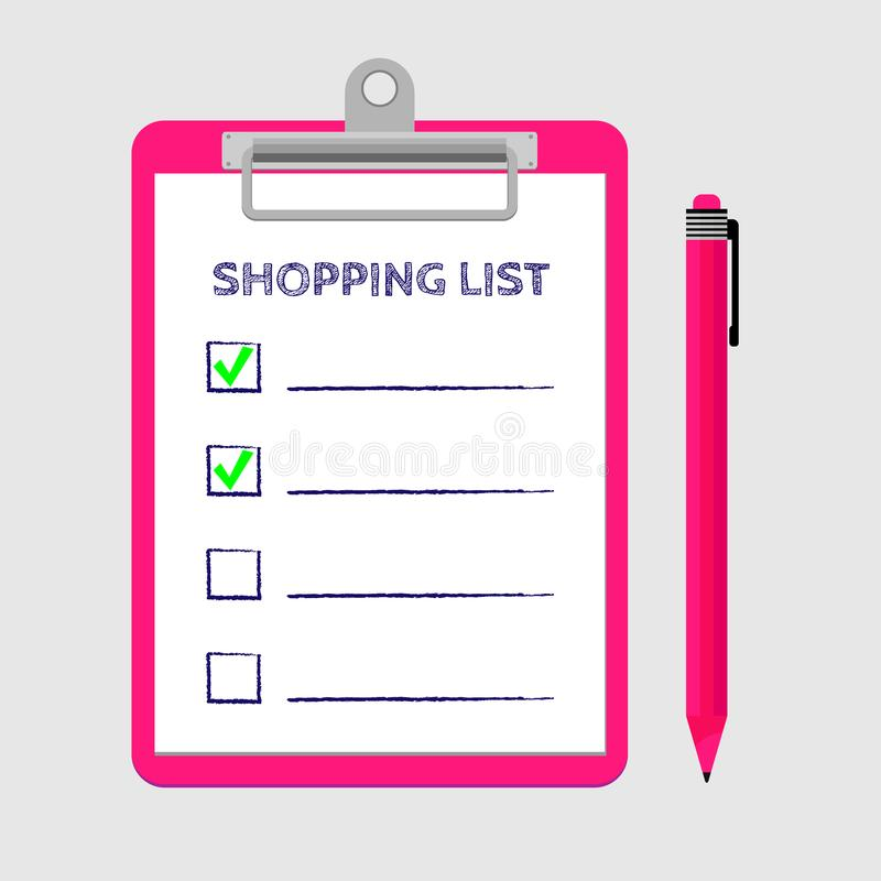 Pink Clipboard With Shopping List And Pen Template For Product - product evaluation template
