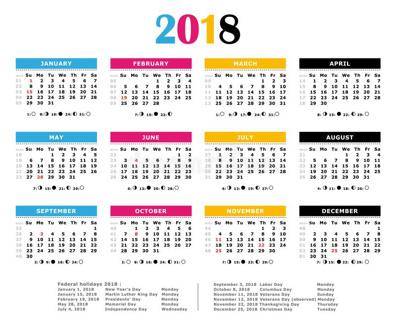 2018 CMYK Print Colors Yearly Calendar Stock Vector - Illustration - yearly calendar