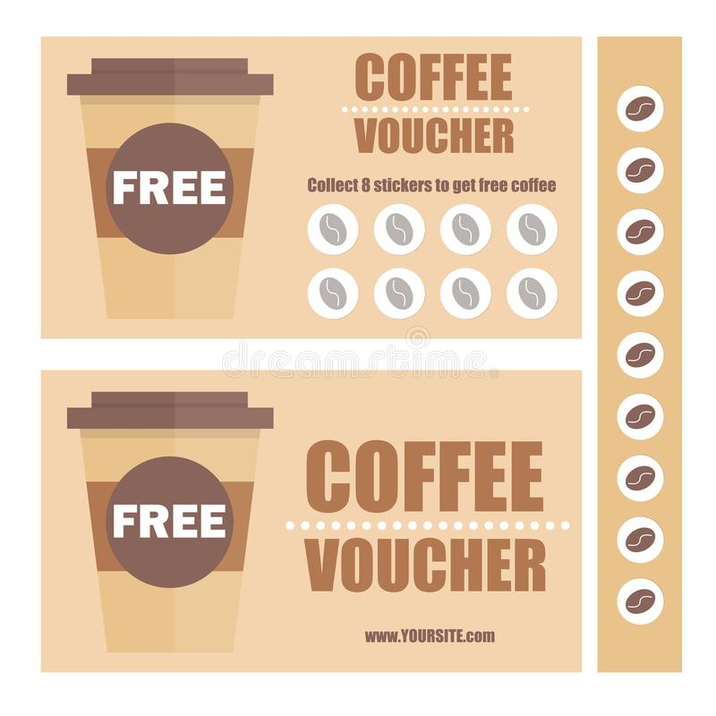 A Coffee Voucher Or Discount Coupon Vector Flat Voucher Template - Lunch Voucher Template