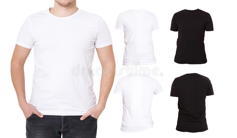 Collage T Shirts Black, White Front And Back View Shirt Template - pocket t shirt template