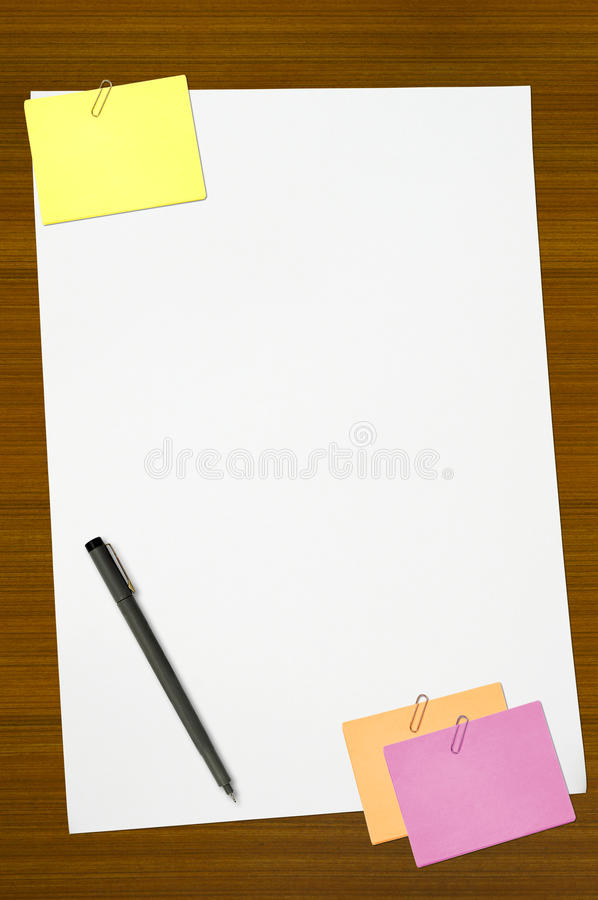 Colored Memo And White Blank Note Paper Stock Image - Image of blue - colored writing paper