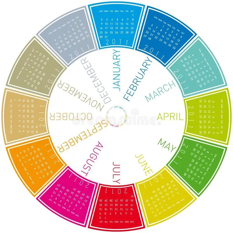Colorful Circular Calendar 2011 Stock Vector - Illustration of days - circular calendar