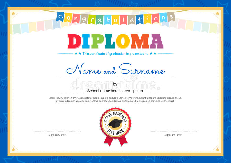 Colorful Diploma Certificate Template For Kids In Vector Stock - certificate template for kids