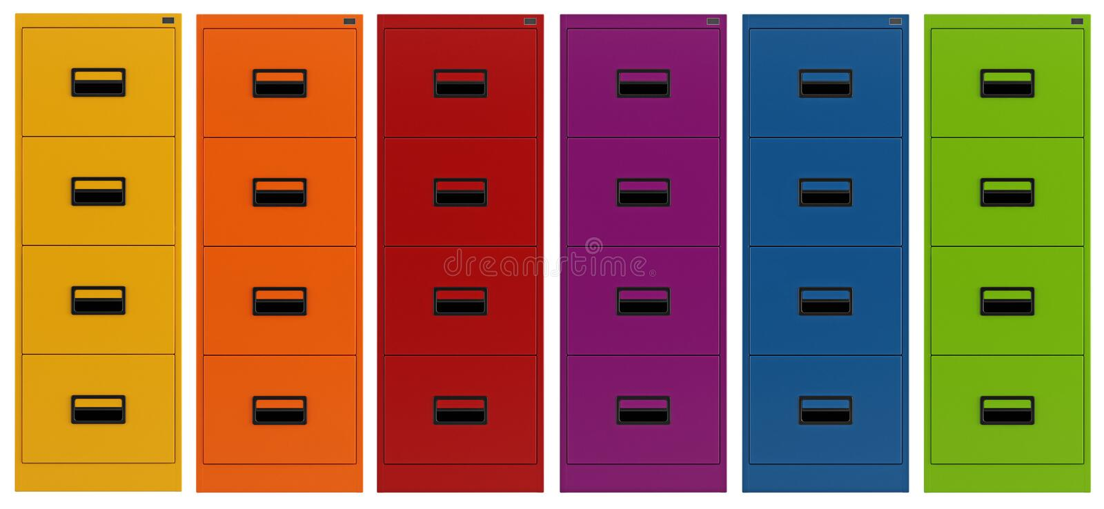 Colorful Filing Cabinet Royalty Free Stock Photography