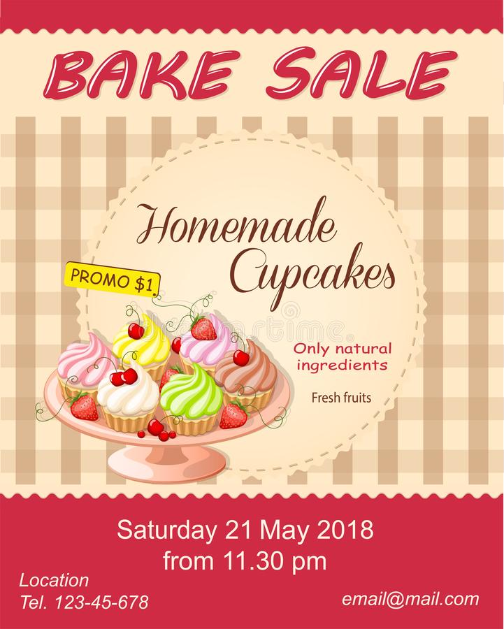 Red Bake Sale Promotion Flyer With Cupcakes On The Plate Stock