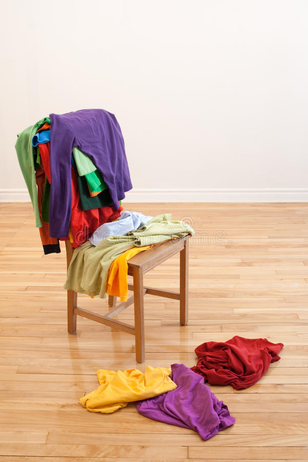 Chair Stuhl Colorful Messy Clothes On A Chair Stock Image - Image Of