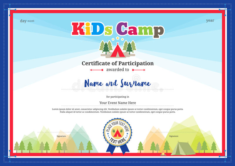 Colorful And Modern Certificate Of Participation For Kids Activities