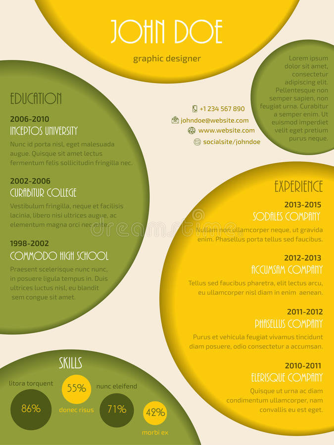 Colorful Modern Resume Cv Template Stock Vector - Illustration of