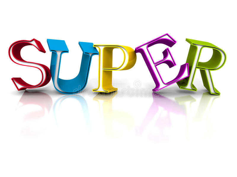 Colorful SUPER Word Letters On White Background Stock Photo - Image - word with the letters