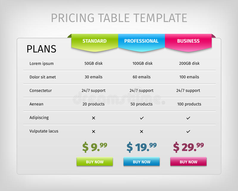 Colorful Web Pricing Table Template For Business Stock Vector - price chart templates
