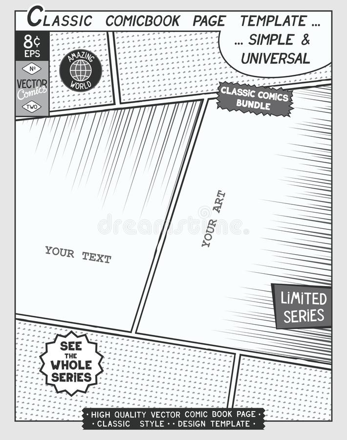 Comic book style template stock vector Illustration of book - 93679441