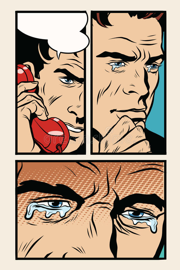 Comic Storyboard Man On The Phone And Cries Stock Vector