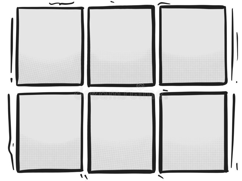 Comic Strip Six Grey Panels Box Halftone Cartoon Template Stock - comic panel template