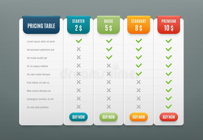 Comparison Pricing List Comparing Price Or Product Plan Chart - price chart template