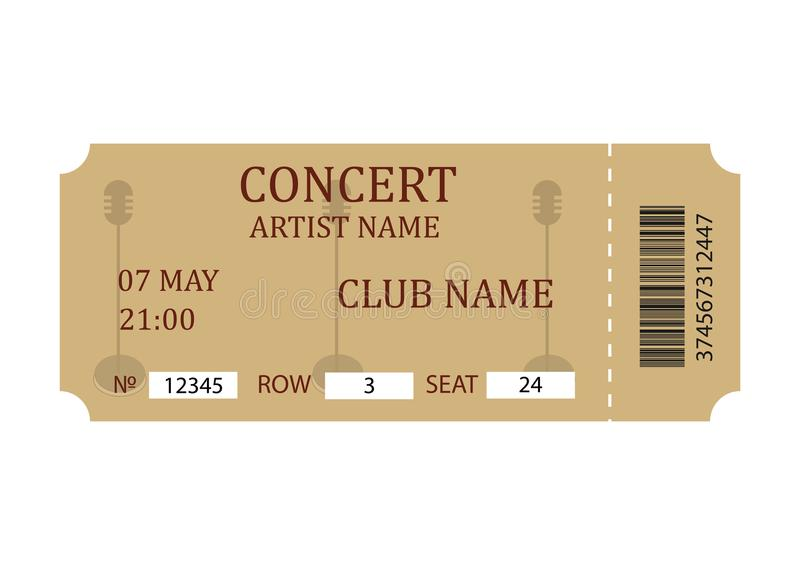 Concert Ticket Retro Ticket Template Isolated On White Background