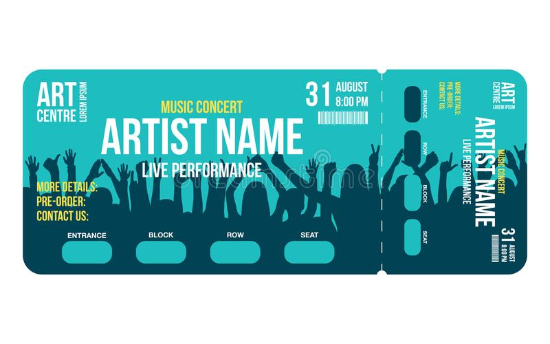 Concert Ticket Template Concert, Party Or Festival Ticket Design - Concert Ticket Templates
