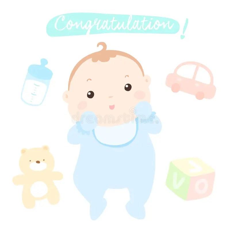 Congratulation New Little Baby Boy Stock Vector - Illustration of - congratulation for the baby boy