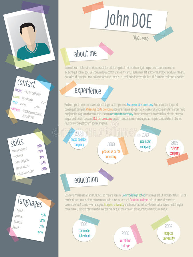 Cool Resume Cv With Post Its And Color Tapes Stock Vector - post a resume