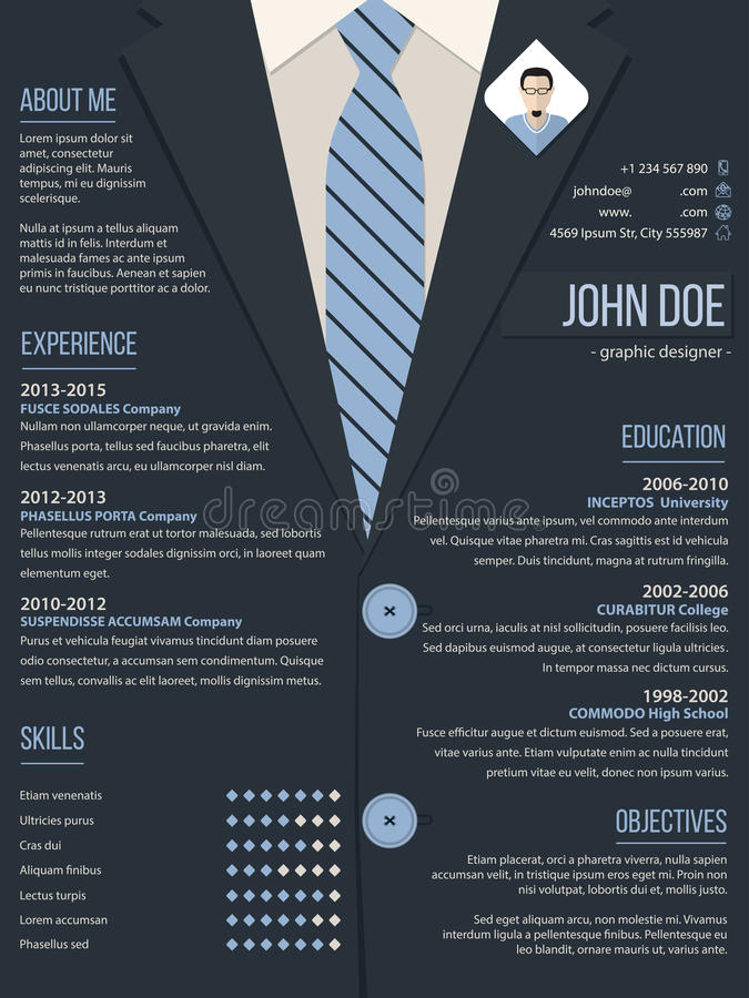 Cool Resume Cv Template With Business Suit Background Stock