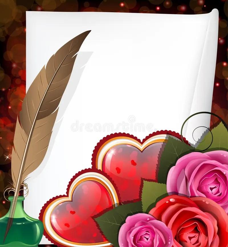 Corazones, Rosas Y Hoja De Papel De La Tarjeta Del Día De San - rosas y corazones