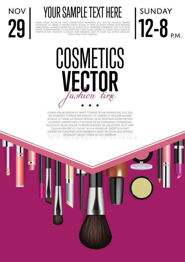 Cosmetics Vector Promo Flyer With Date And Time Stock Vector - product poster