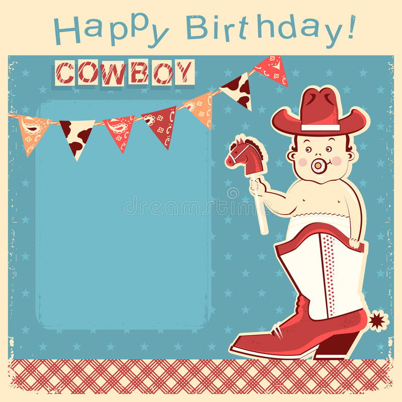 Cowboy Happy Birthday Card With Little Baby Sitting In Cowboy Bo