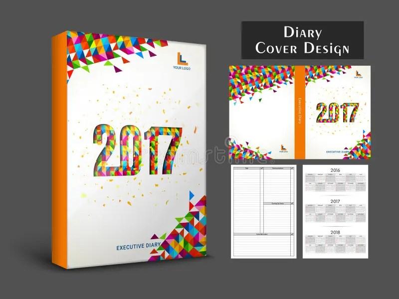 Creative Diary Cover Design For 2017 Stock Illustration - diary design