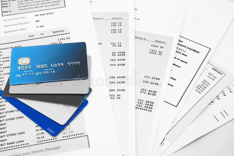 Credit Cards On Bank Statements Stock Photo - Image of statement - bank statements