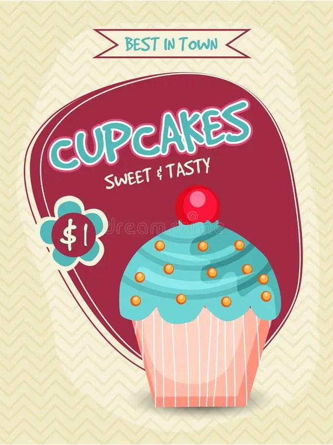 Cupcake Template, Banner, Flyer Or Menu Card Design Stock