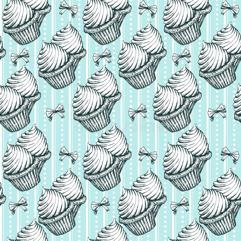 Cupcakes Seamless Pattern Background Vintage Sketches Vector - background sketches
