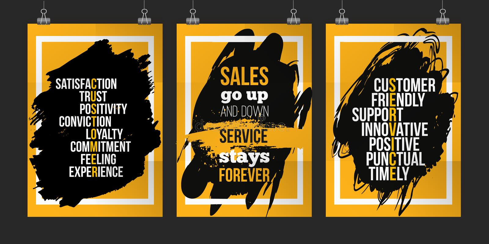 Customer Service Quote Set On Grunge Stain Poster Set For Wall Mock