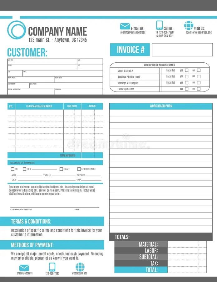 Customizable Invoice Work Order Template Design Stock Vector - work order table