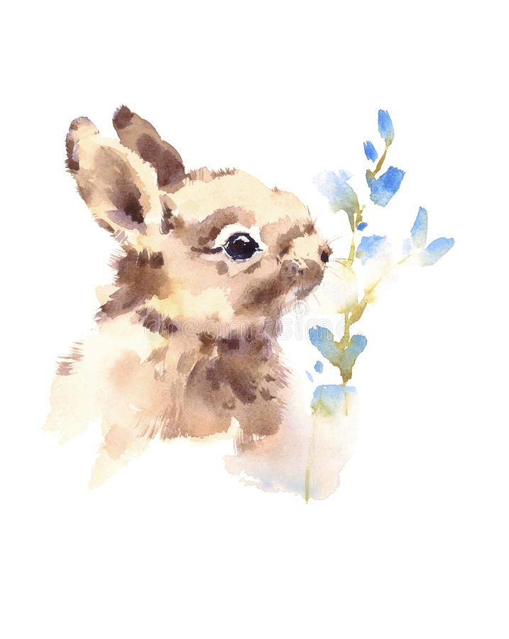 Cute Elephant Design Wallpaper Cute Baby Bunny Smelling Blue Flowers Watercolor Animals