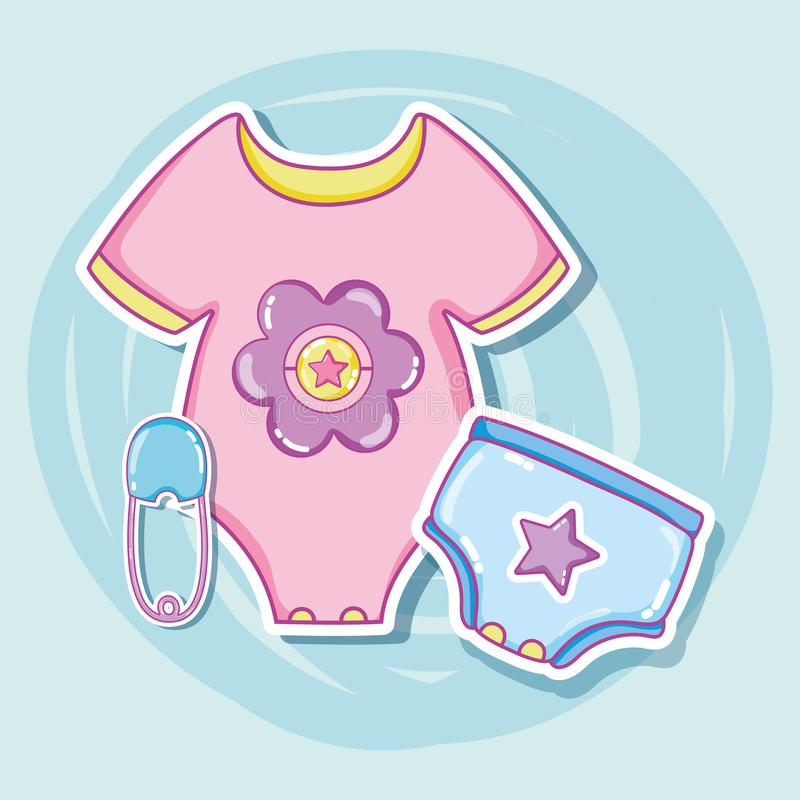 Cute baby clothes cartoons stock vector Illustration of celebration