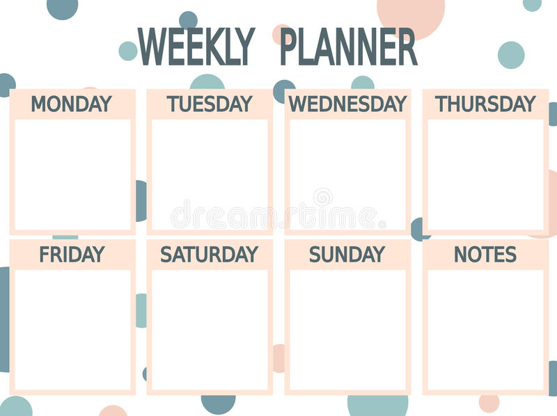 Cute Blue Pink Printable Weekly Planner With Circles Stock Vector