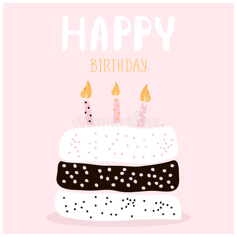 Cute Cake With Happy Birthday Wish Greeting Card Template - birthday cake card template