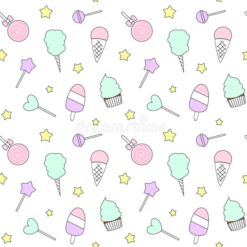 Wallpaper Cupcake Cute Cute Cartoon Colorful Seamless Pattern With Candies Ice