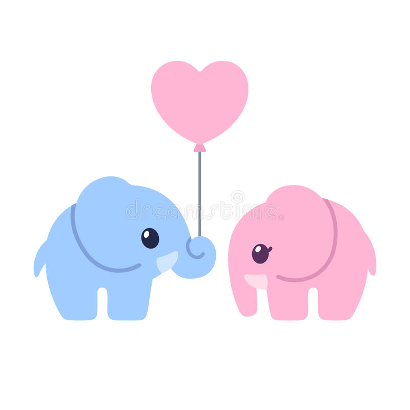 Cute Twin Baby Boy And Girl Wallpapers Cute Cartoon Elephant Couple Stock Vector Illustration