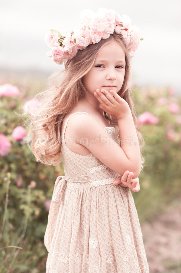 Cute Infants Wallpapers Cute Child Girl Posing In Rose Garden Stock Photo Image