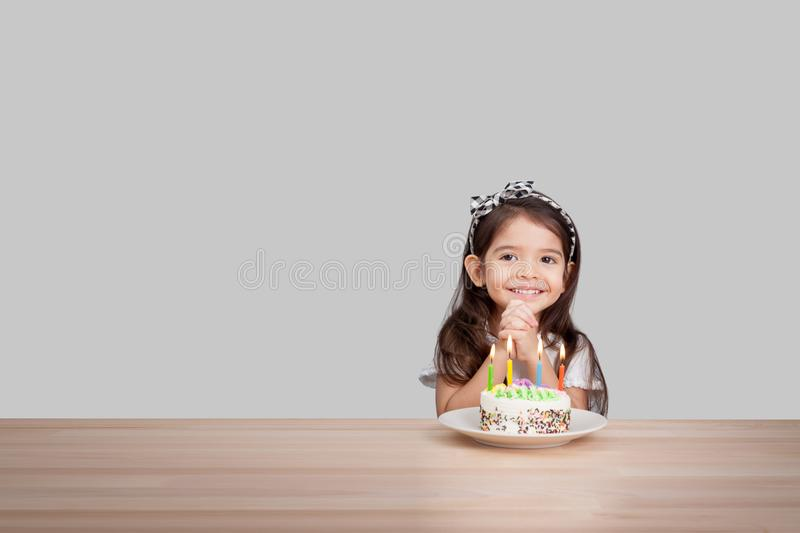 Cute Girl Make A Wish On Birthday Happy Birthday Background Stock