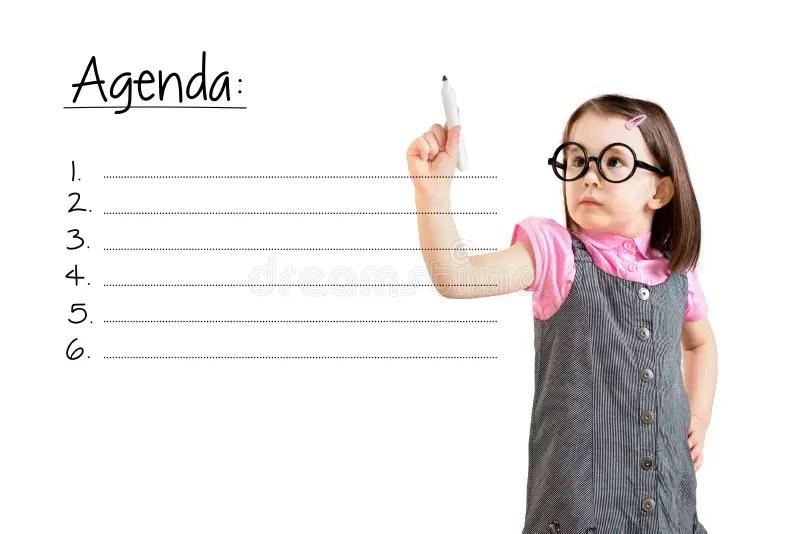 Cute Little Girl Wearing Business Dress And Writing Blank Agenda - agenda writing