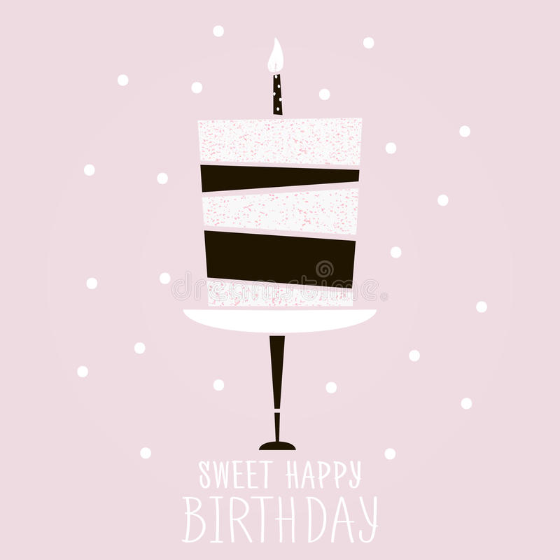Cute Pink Cake With Happy Birthday Wish Modern Greeting Card - birthday cake card template