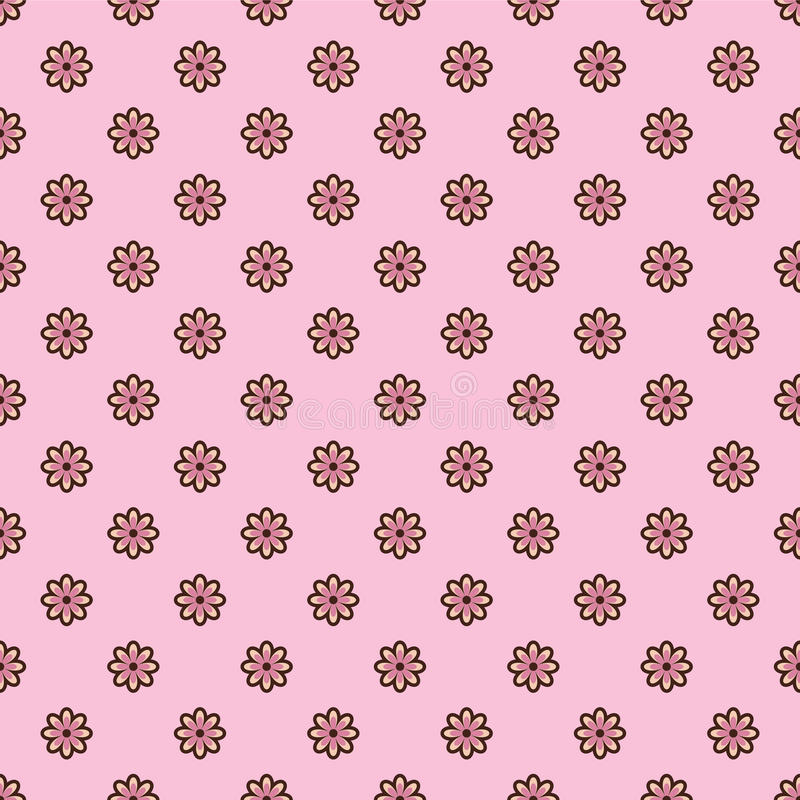 Cute Pink Floral Seamless Pattern Stock Vector - Illustration of