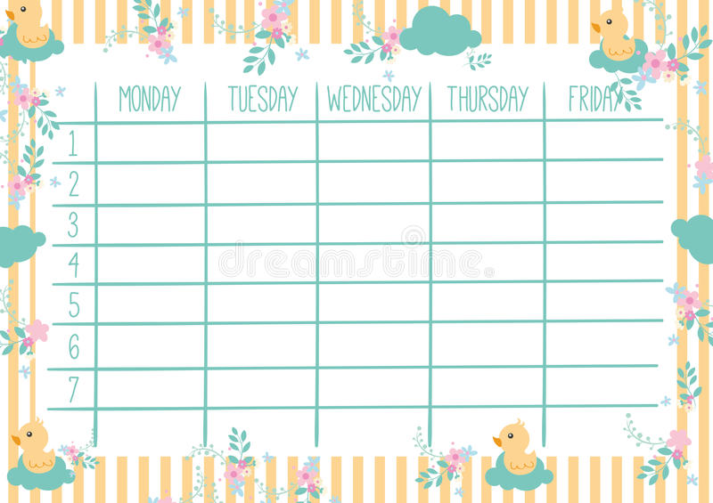 Cute Weekly Planner stock vector Illustration of plan - 76412894